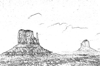 Monument Valley with Sketch Effect