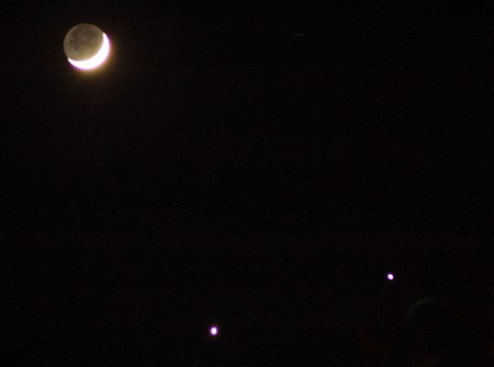 The Moon, Venus and Jupiter